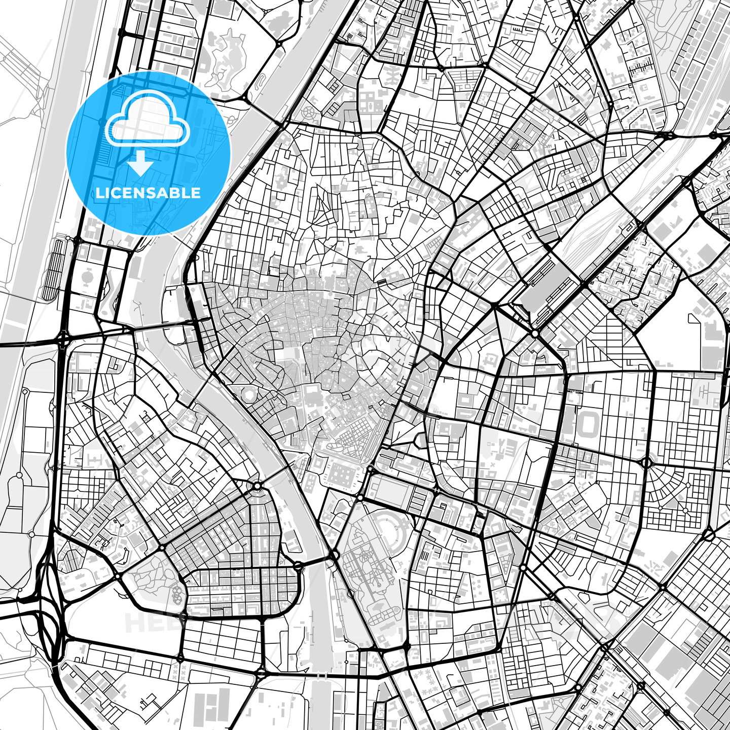 Downtown map of Seville, light | HEBSTREITS