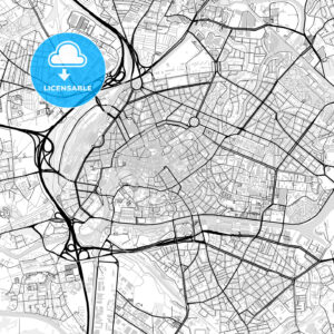 Downtown vector map of Strasbourg - HEBSTREITS