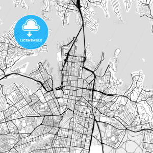 Downtown vector map of Sydney - HEBSTREITS