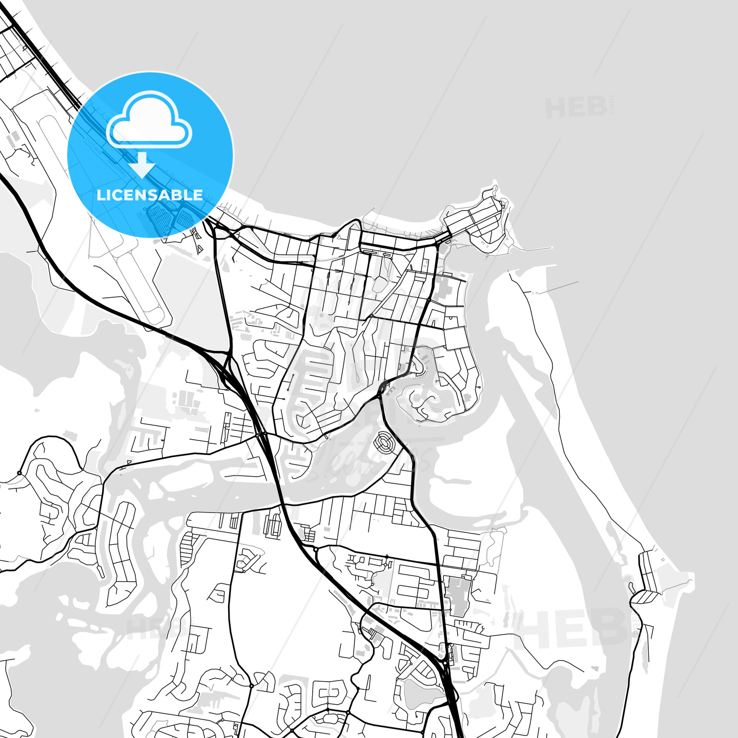 Downtown vector map of Tweed Heads - HEBSTREITS