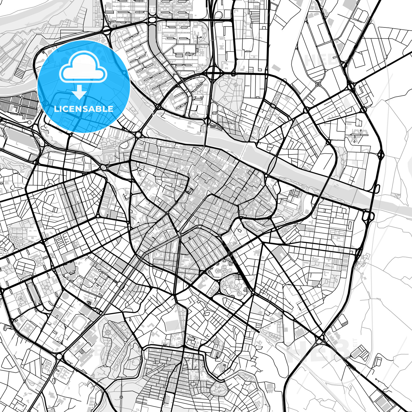 Downtown map of Zaragoza, light | HEBSTREITS Sketches on