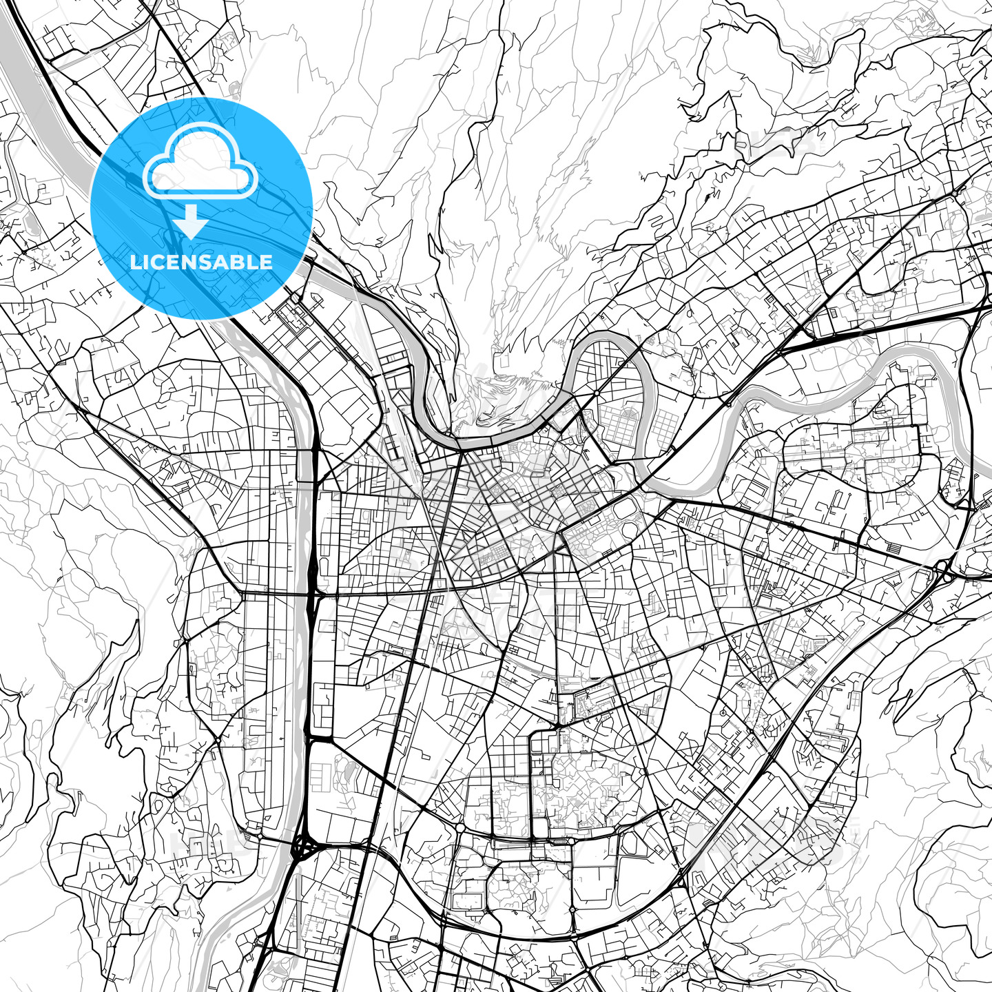 Grenoble, Isère, Downtown Vector Map - HEBSTREITS