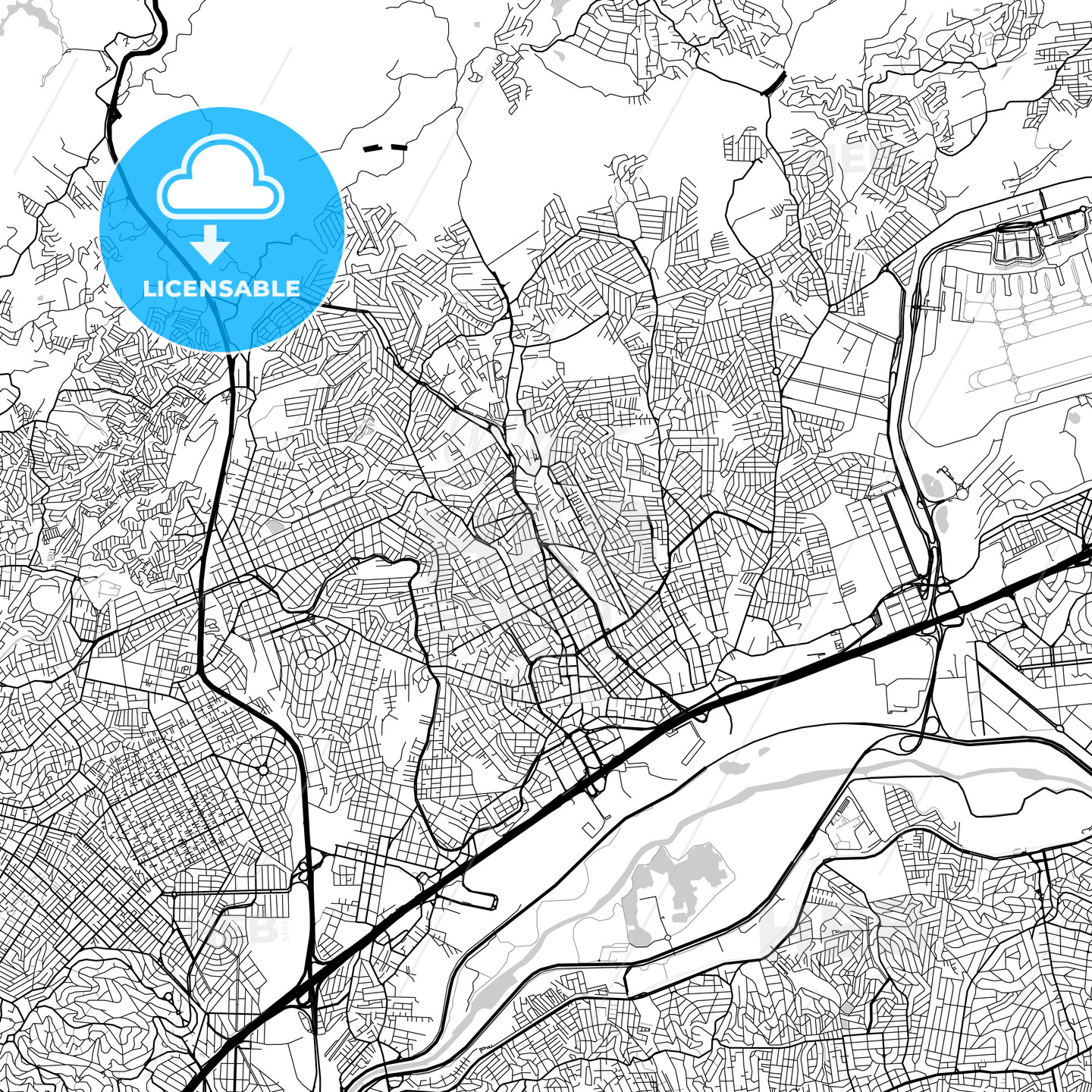 Guarulhos, São Paulo, Downtown Vector Map - HEBSTREITS