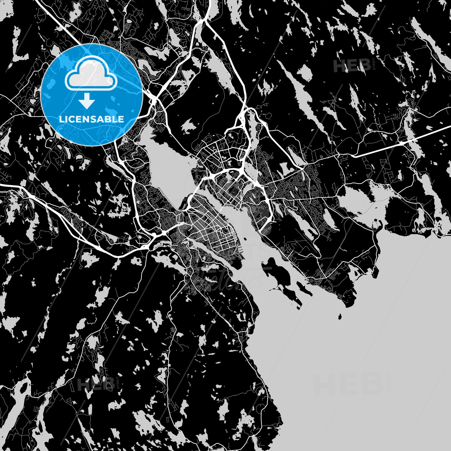 Halifax, Nova Scotia, Area Map, Dark - HEBSTREITS