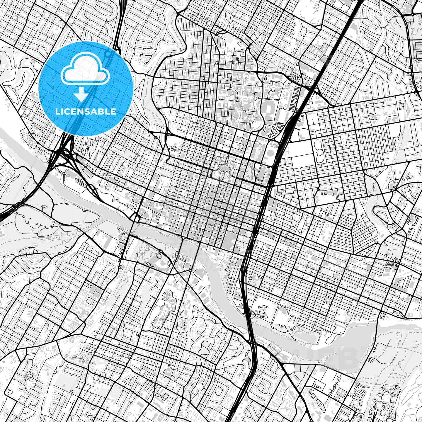 Downtown map of Austin, light | HEBSTREITS