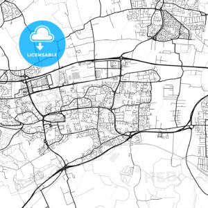Inner city vector map of Basildon - HEBSTREITS