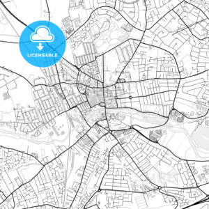 Inner city vector map of Bedford - HEBSTREITS