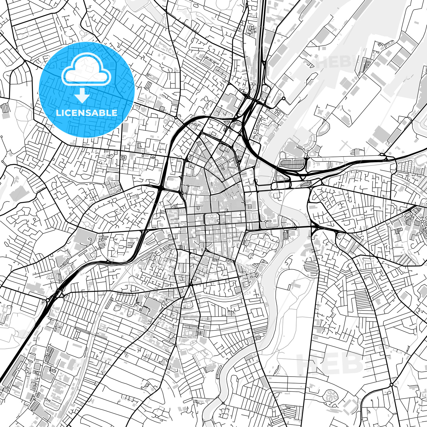 Inner city vector map of Belfast - HEBSTREITS