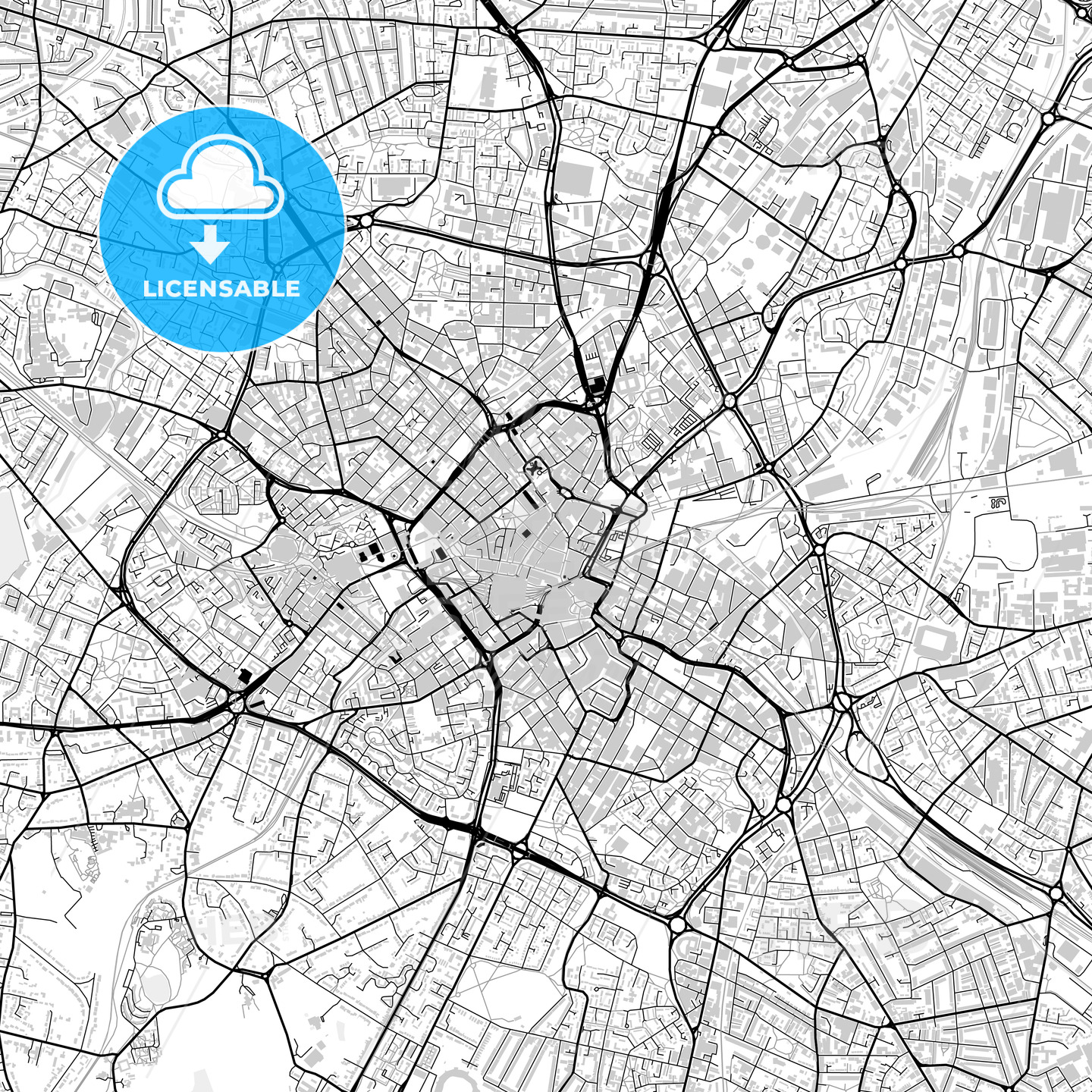 Inner city vector map of Birmingham - HEBSTREITS
