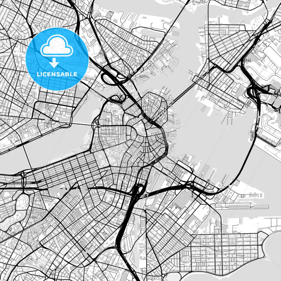 Inner city vector map of Boston - HEBSTREITS