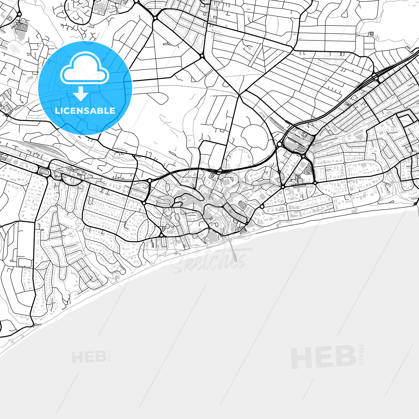 Inner city vector map of Bournemouth - HEBSTREITS