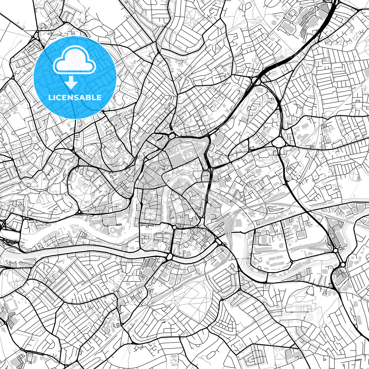 Inner city vector map of Bristol - HEBSTREITS