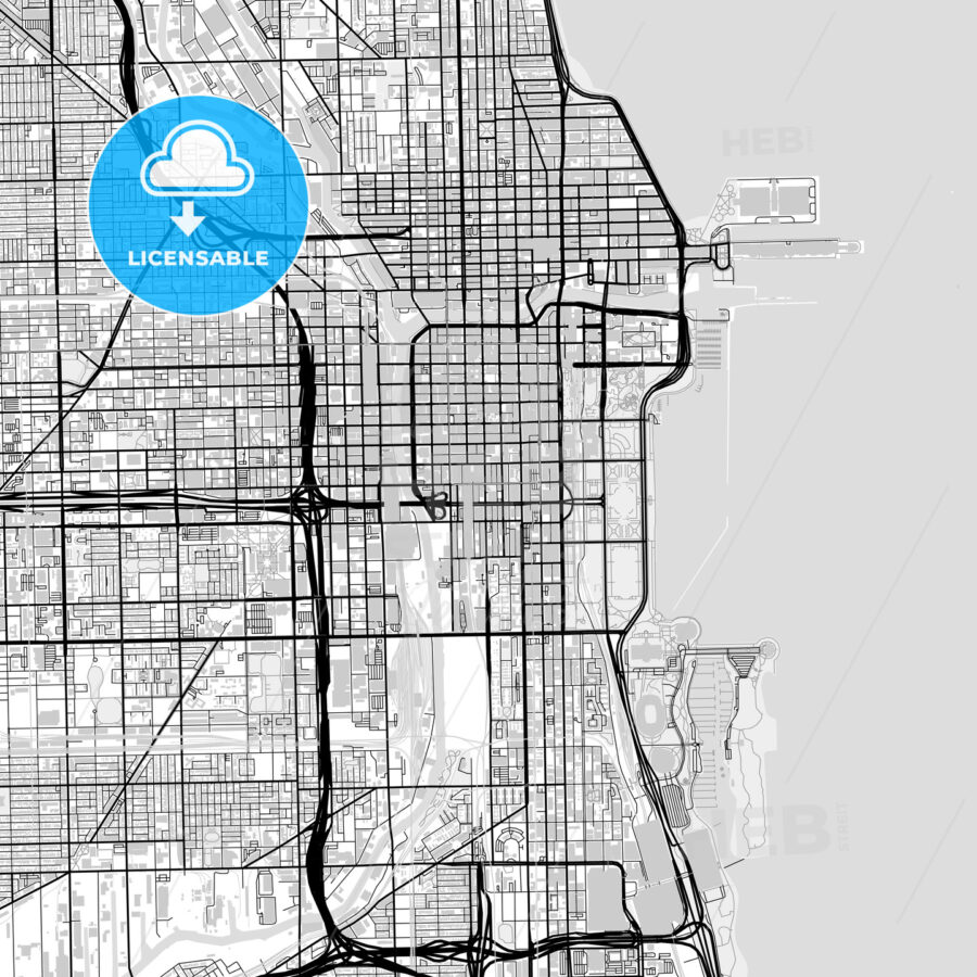 Inner city vector map of Chicago - HEBSTREITS