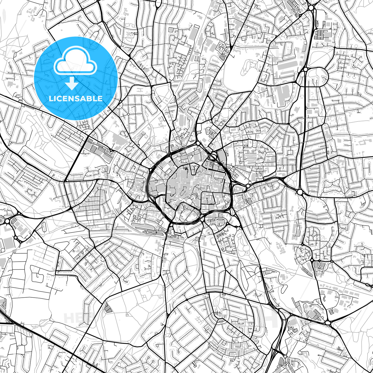 Inner city vector map of Coventry - HEBSTREITS