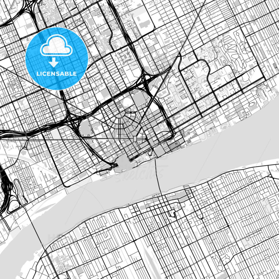 Inner city vector map of Detroit - HEBSTREITS