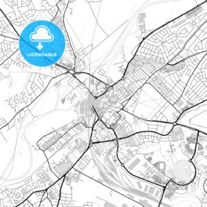 Inner city vector map of Doncaster - HEBSTREITS