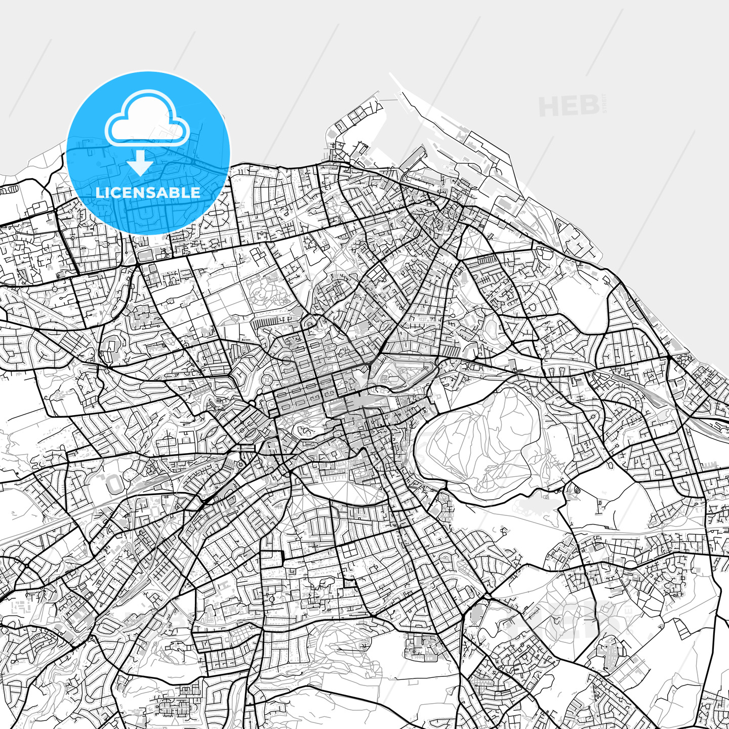 Inner city vector map of Edinburgh - HEBSTREITS