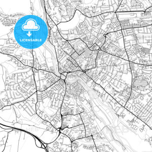 Inner city vector map of Exeter - HEBSTREITS