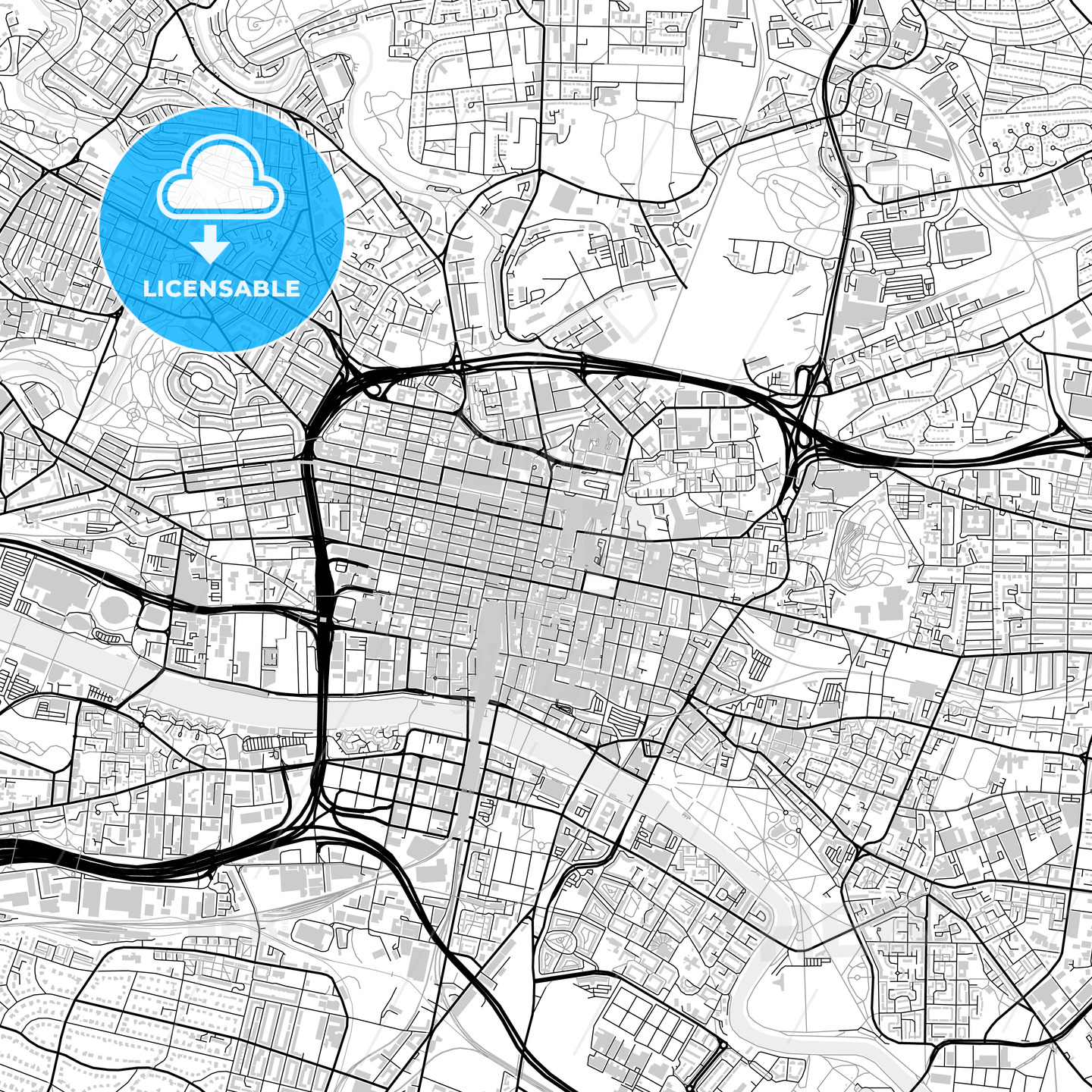 Inner city vector map of Glasgow - HEBSTREITS