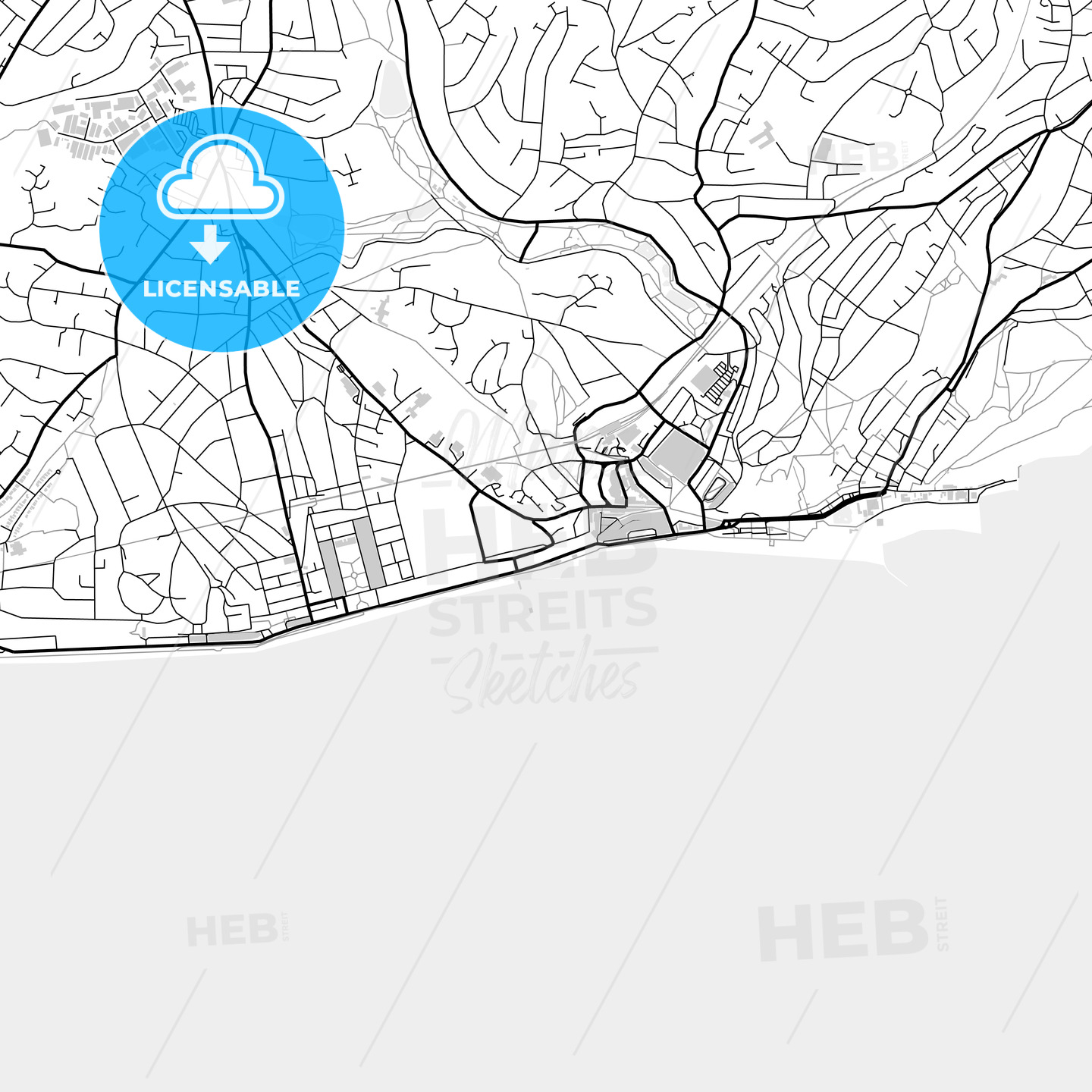 Inner city vector map of Hastings - HEBSTREITS