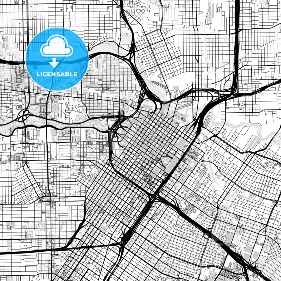 Inner city vector map of Houston - HEBSTREITS