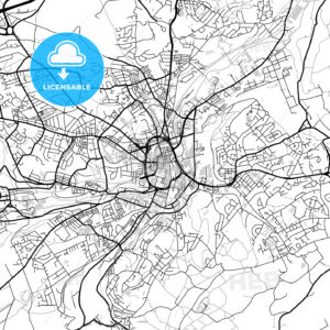 Inner city vector map of Huddersfield - HEBSTREITS