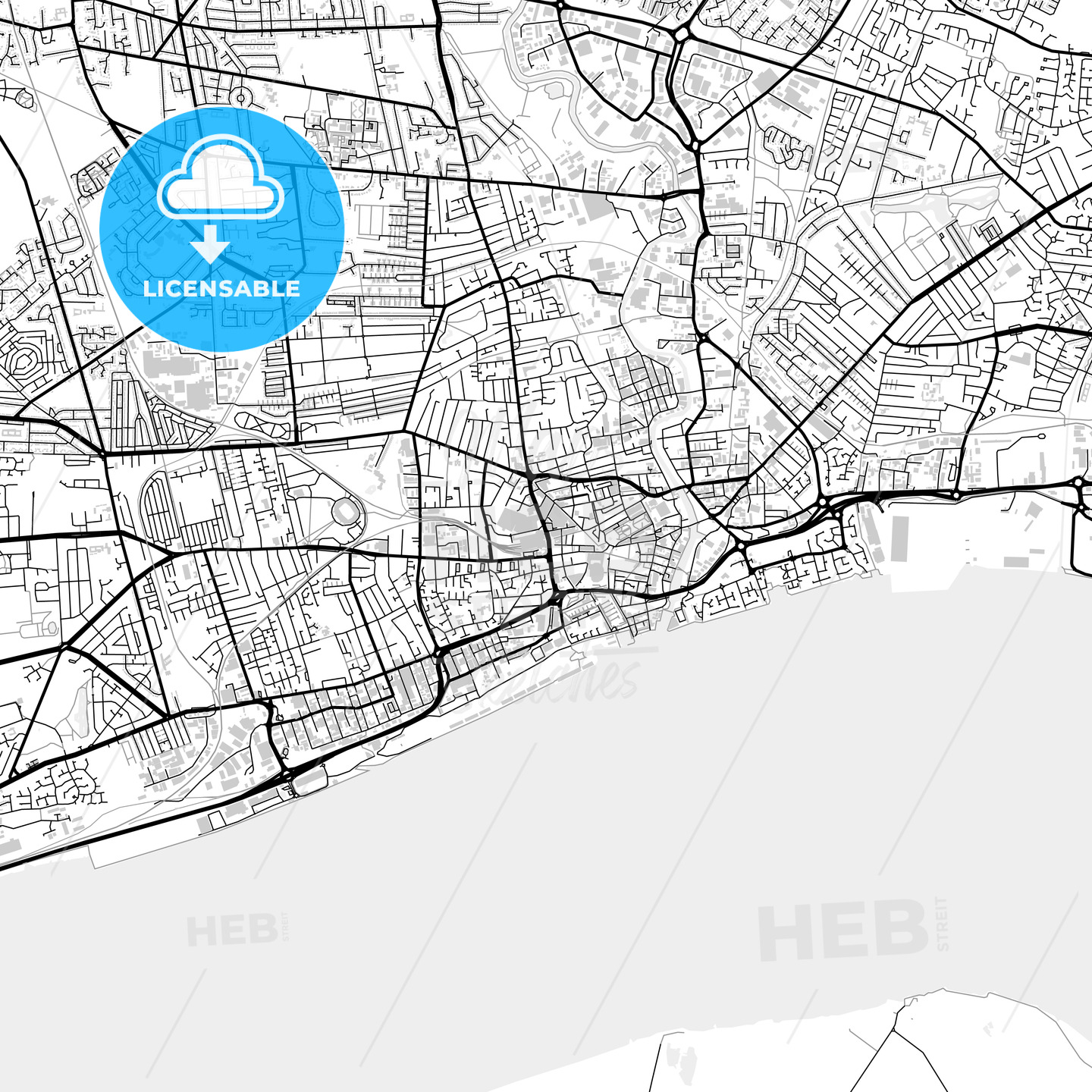 Inner city vector map of Kingston upon Hull - HEBSTREITS