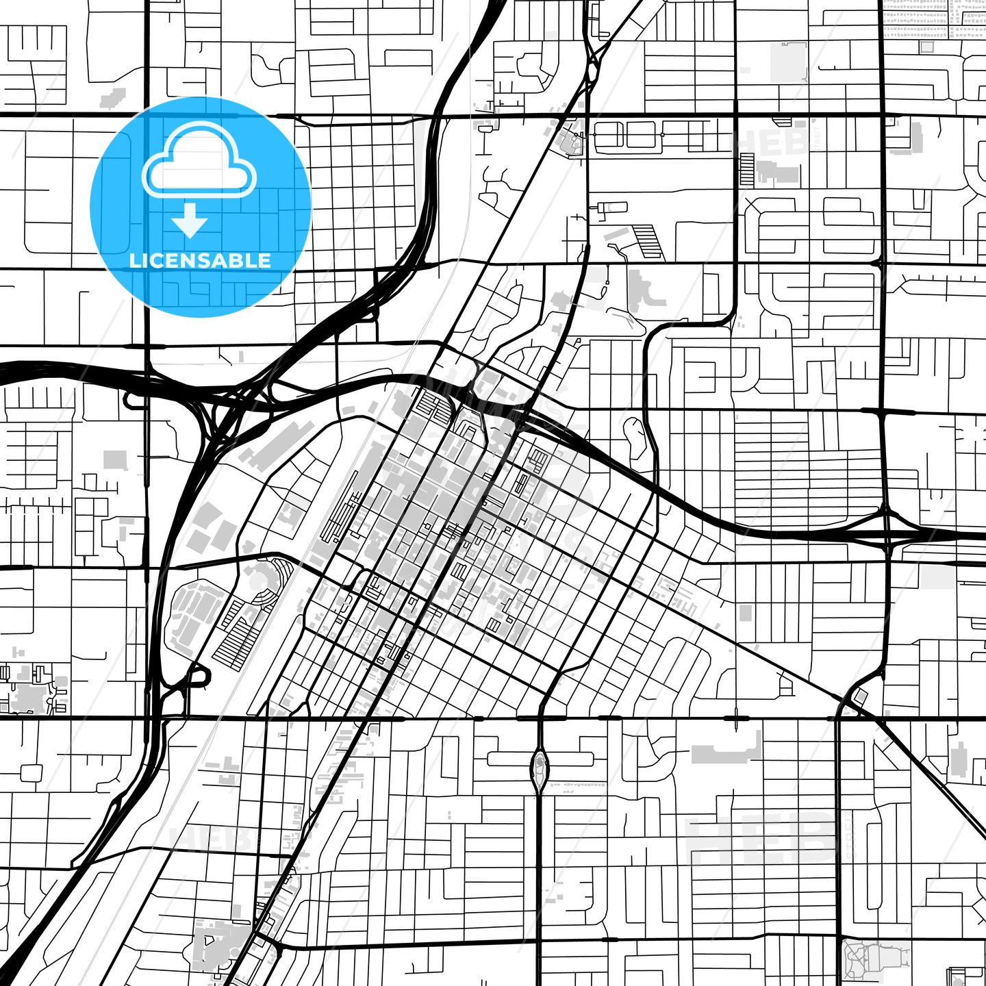 Downtown map of Las Vegas, light | HEBSTREITS
