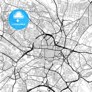 Inner city vector map of Leeds - HEBSTREITS