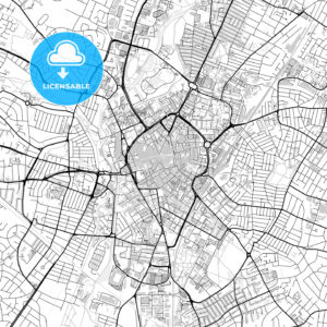 Inner city vector map of Leicester - HEBSTREITS
