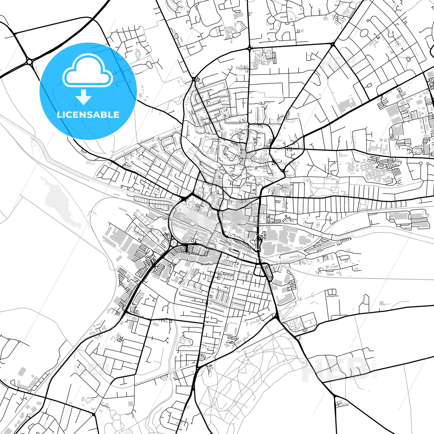 Inner city vector map of Lincoln - HEBSTREITS