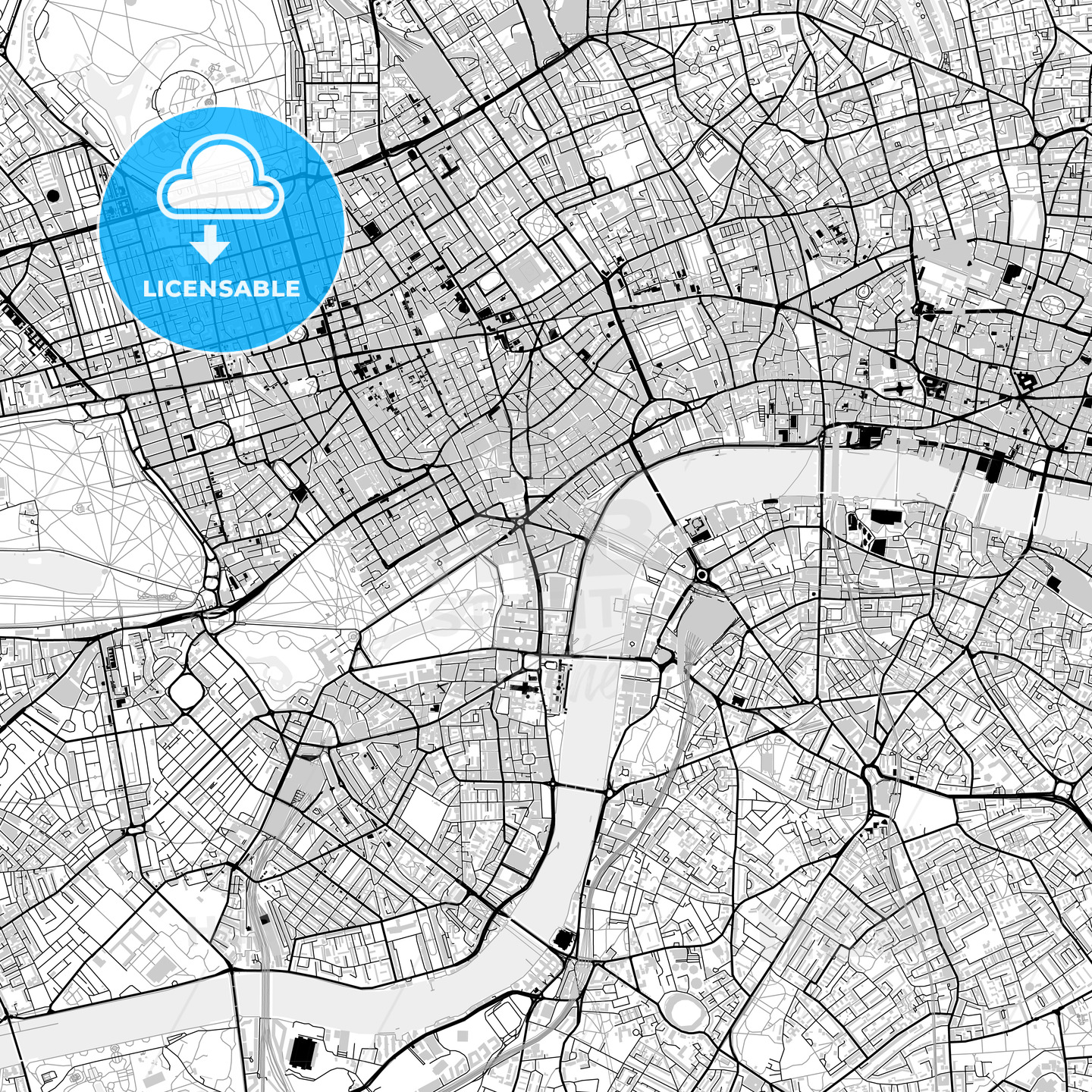 Inner city vector map of London - HEBSTREITS