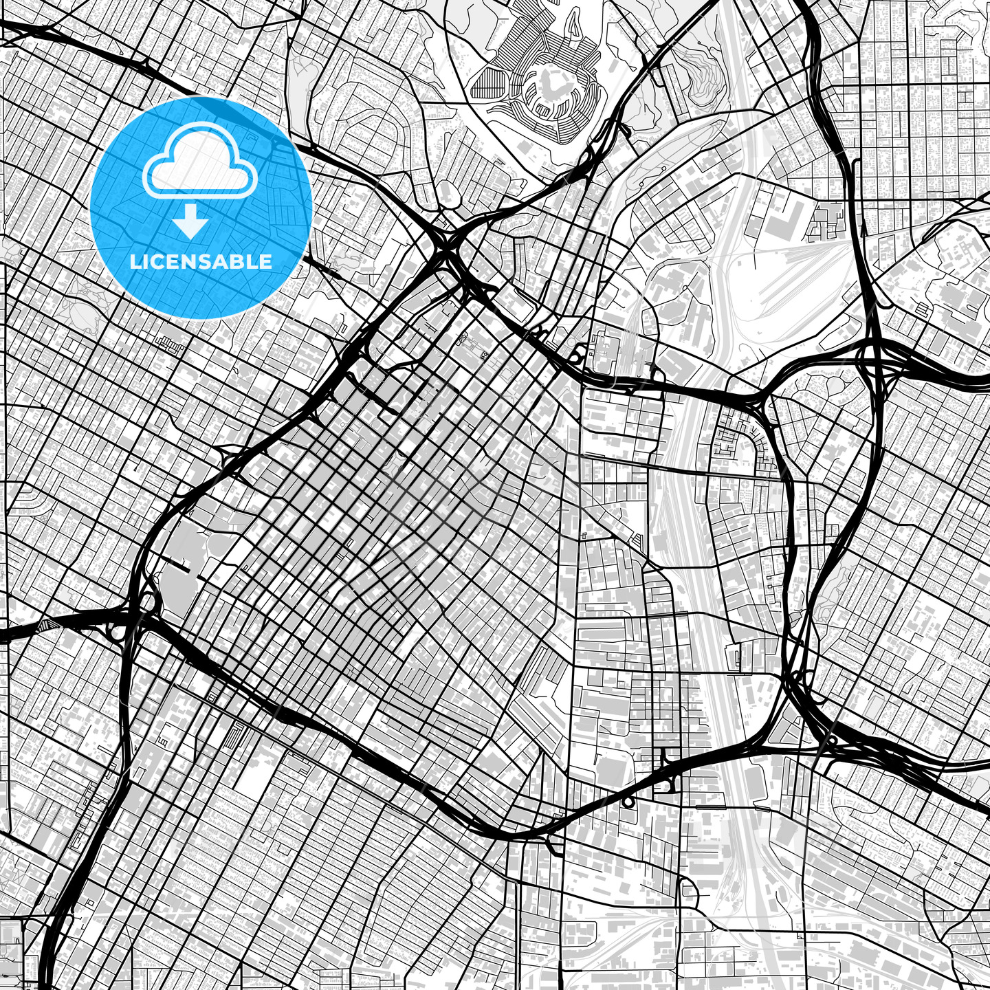 Downtown map of Los Angeles, light | HEBSTREITS Sketches on