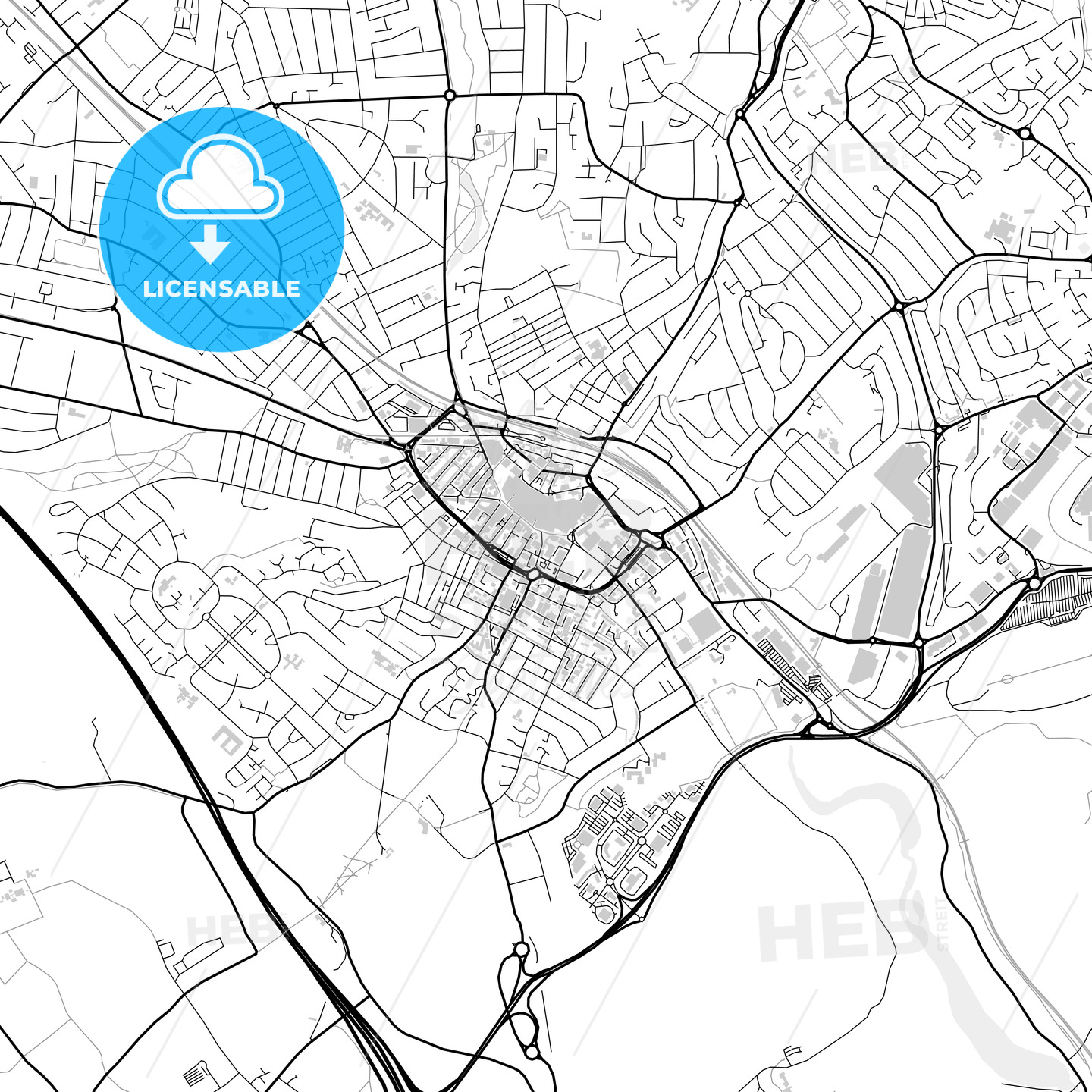 Downtown vector map of Luton HEBSTREITS