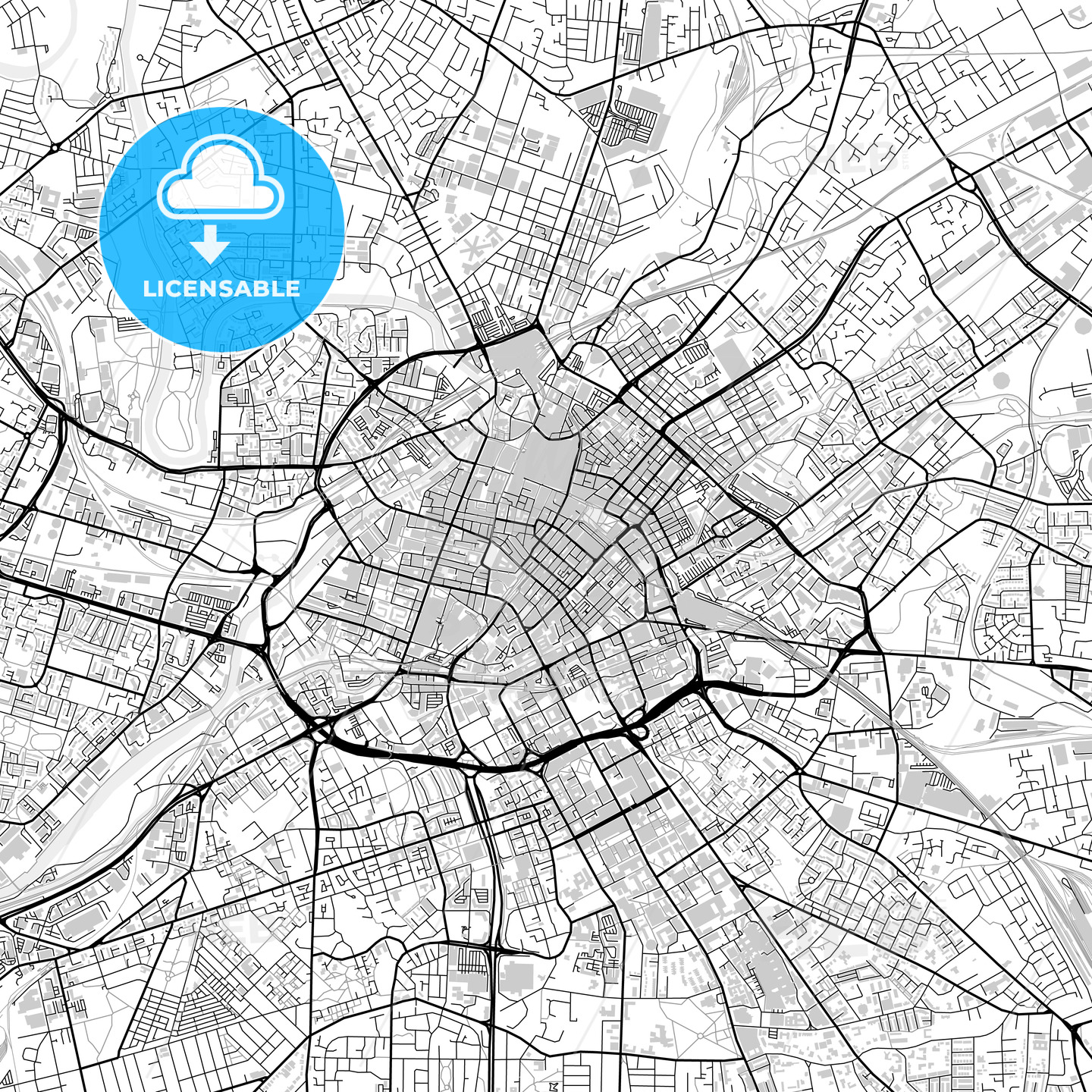 Inner city vector map of Manchester - HEBSTREITS