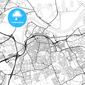 Inner city vector map of Middlesbrough - HEBSTREITS