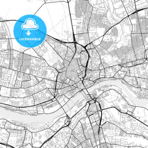 Inner city vector map of Newcastle upon Tyne - HEBSTREITS