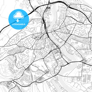Inner city vector map of Newport - HEBSTREITS