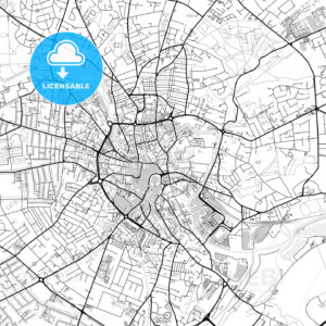 Inner city vector map of Norwich - HEBSTREITS