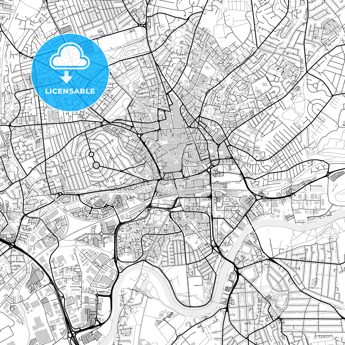 Inner city vector map of Nottingham - HEBSTREITS