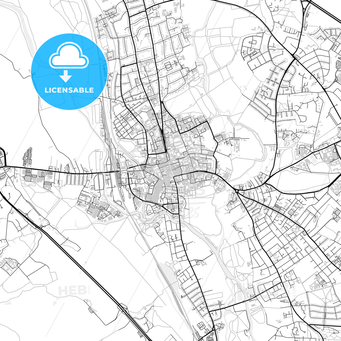 Inner city vector map of Oxford - HEBSTREITS