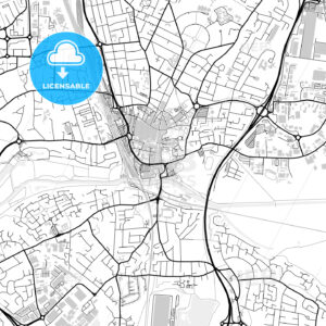 Inner city vector map of Peterborough - HEBSTREITS
