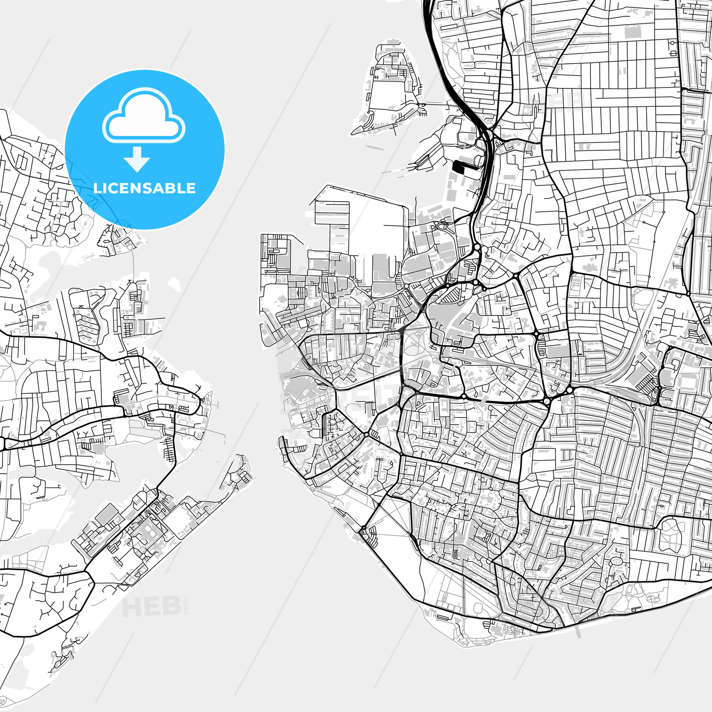 Inner city vector map of Portsmouth - HEBSTREITS