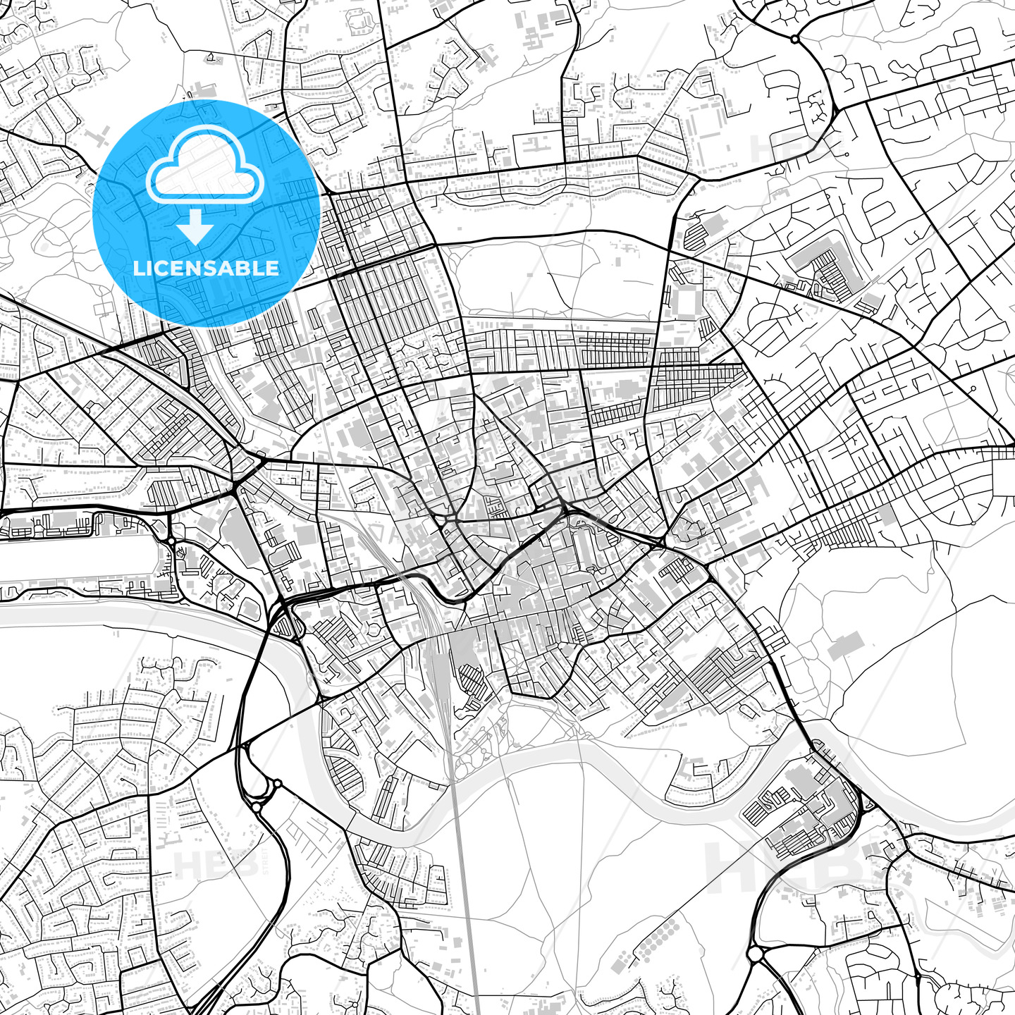 Inner city vector map of Preston - HEBSTREITS