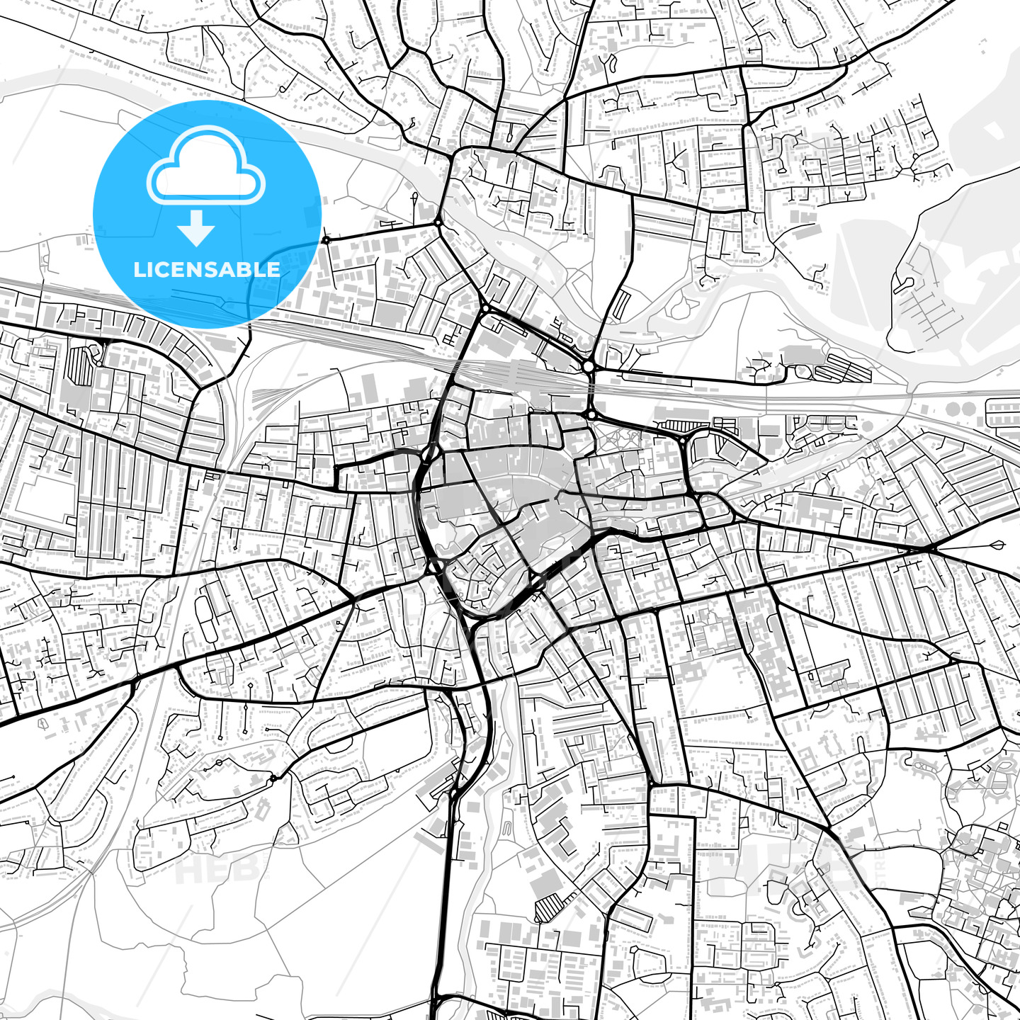 Inner city vector map of Reading - HEBSTREITS
