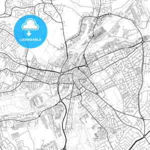 Inner city vector map of Rotherham - HEBSTREITS