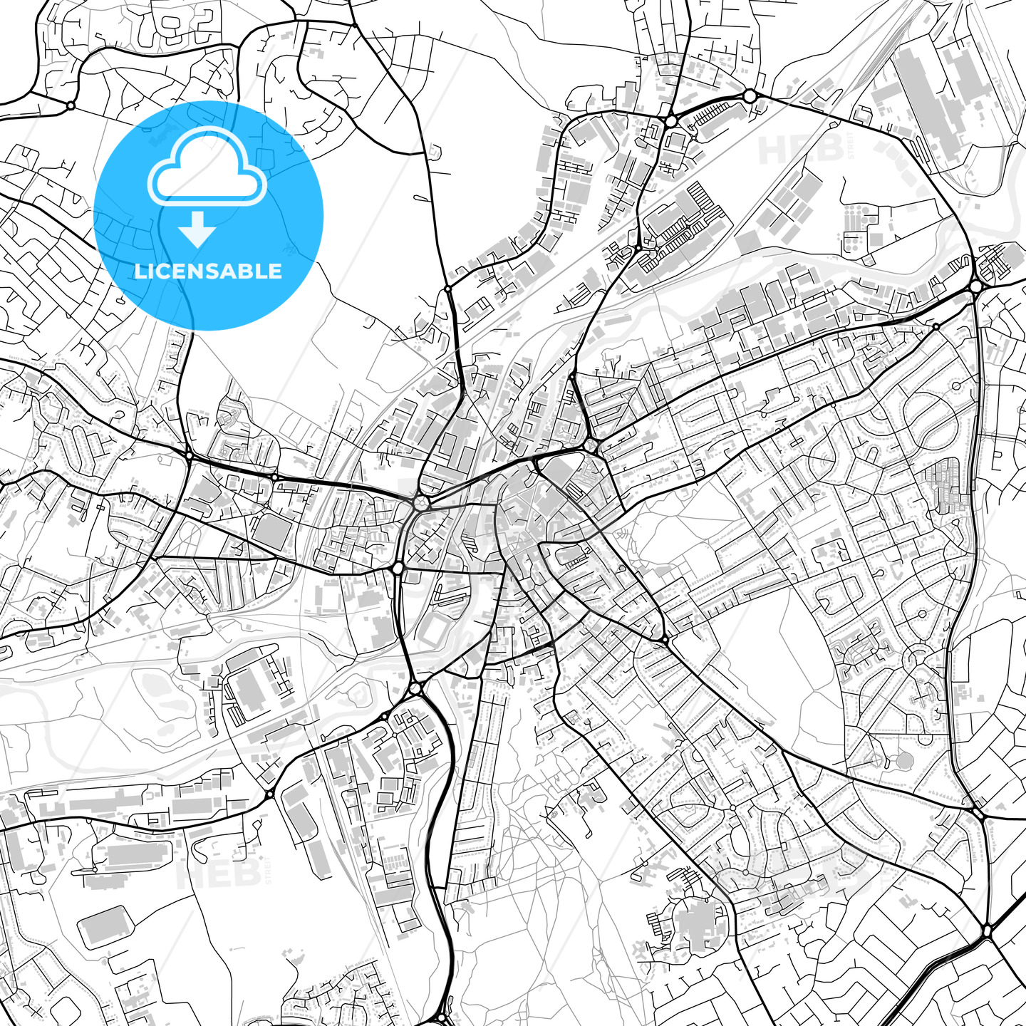 Downtown vector map of Rotherham HEBSTREITS