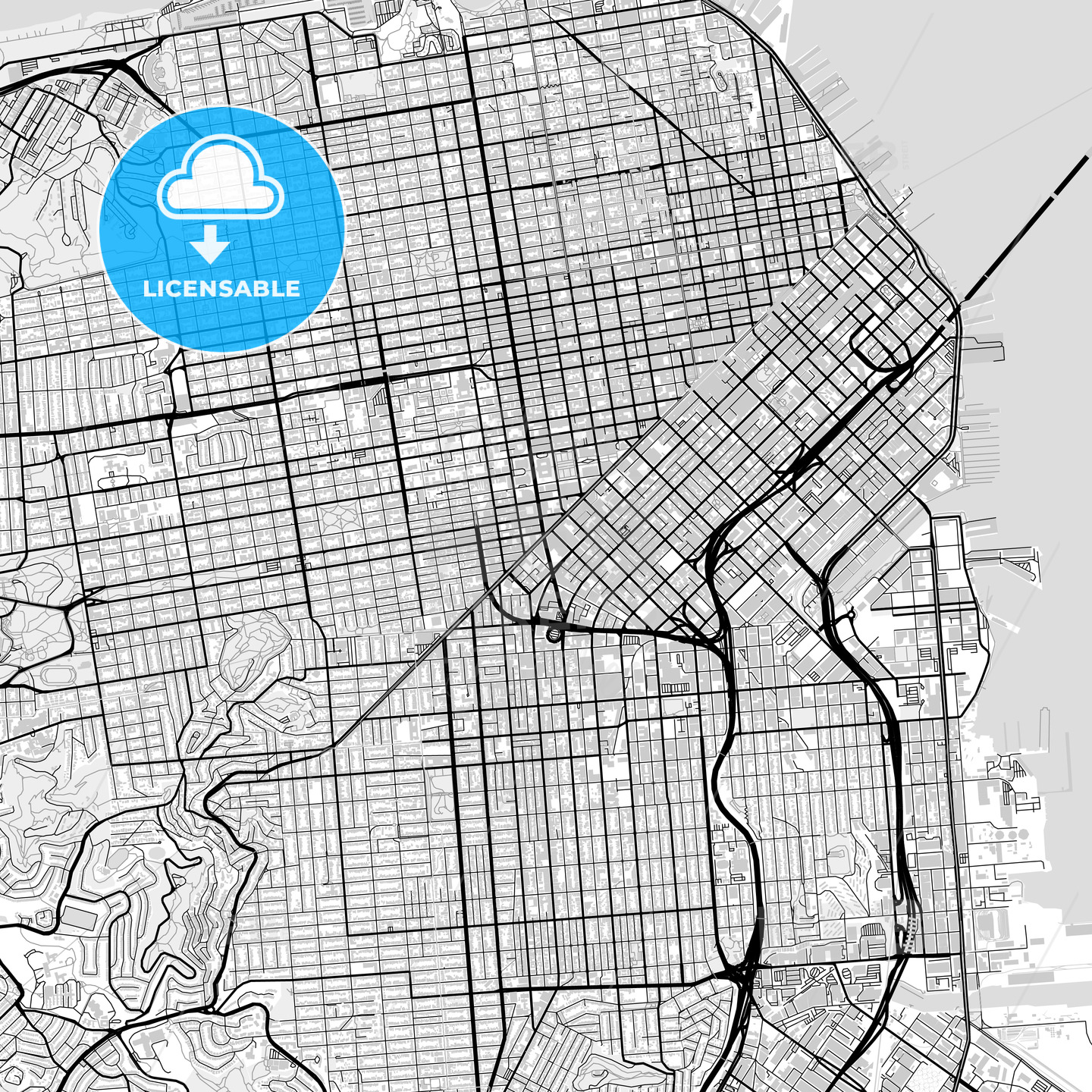 Inner city vector map of San Francisco - HEBSTREITS