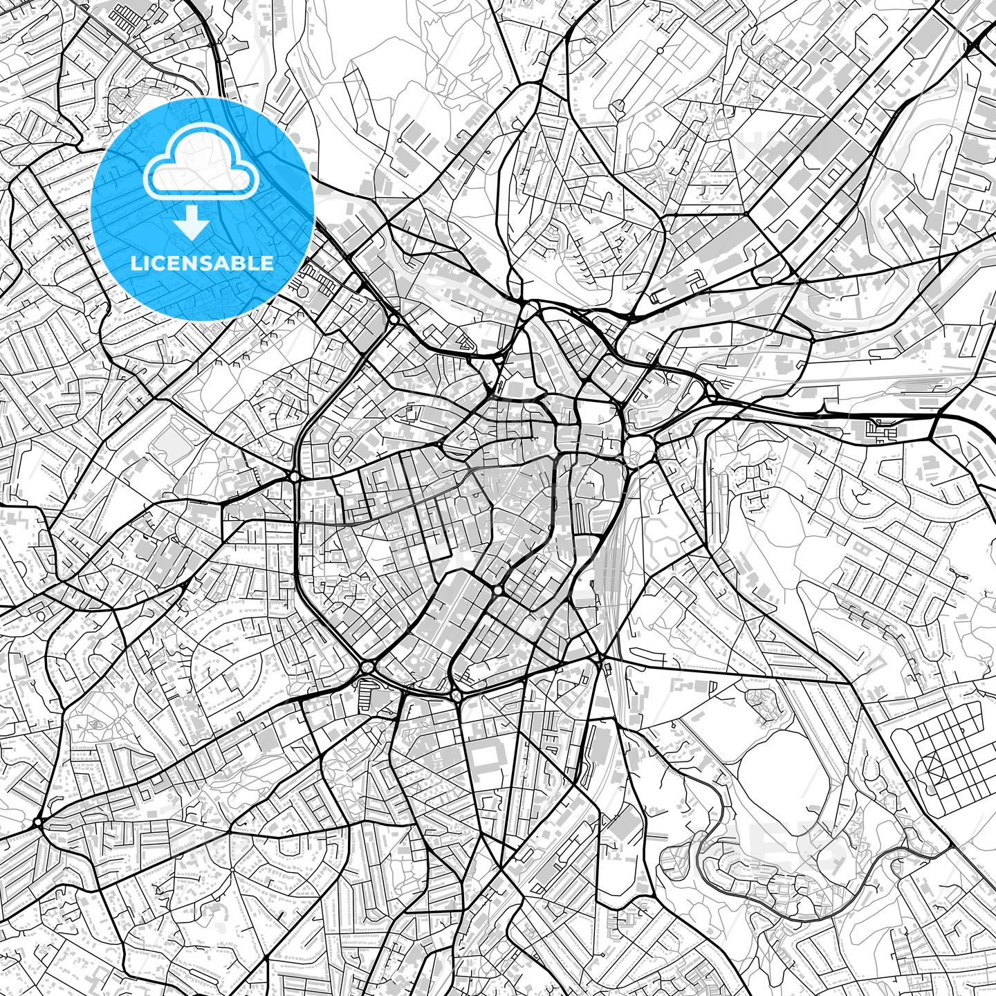 Inner city vector map of Sheffield - HEBSTREITS