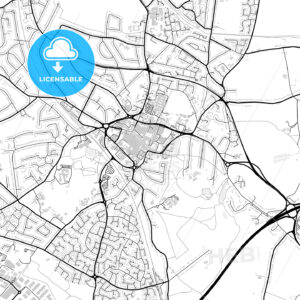 Inner city vector map of Solihull - HEBSTREITS